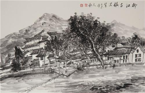柳江古镇写生  68x50cm   2015年